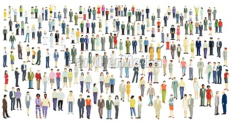 large crowd group of people isolated