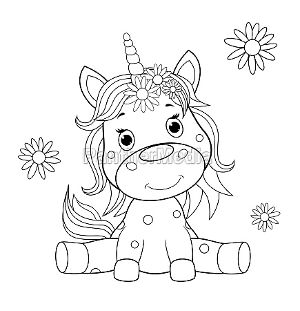 baby unicorn sketch for coloring