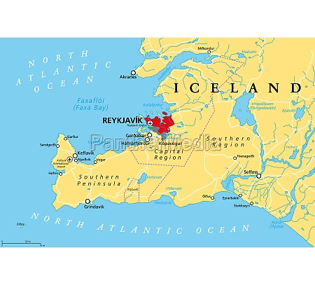 iceland reykjavik capital region and southern