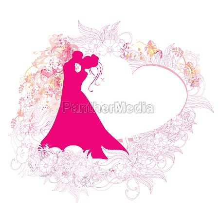 stylish wedding invitation card with kissing