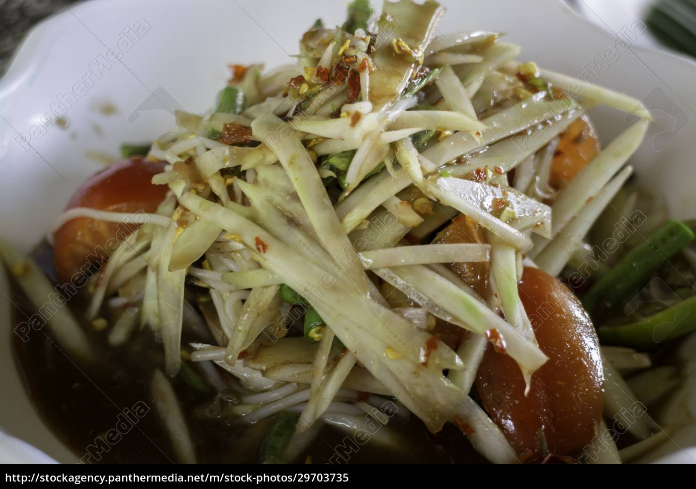 spicy, green, papaya, salad, serve - 29703735