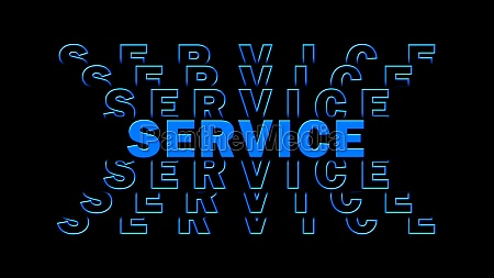 service blue lettering with repeating