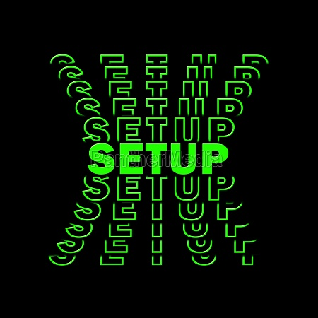 setup green lettering with repeating