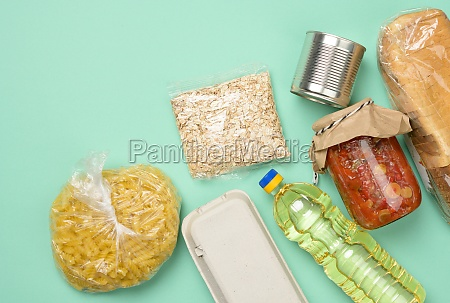 various products bread pasta sunflower oil