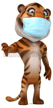 fun 3d cartoon tiger with a