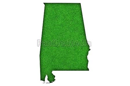 map of alabama on green felt