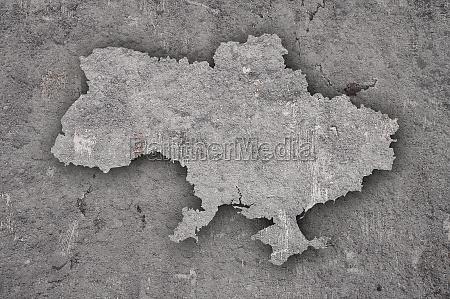 map of ukraine on weathered concrete
