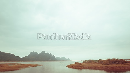 mountain landscape lake and mountain range