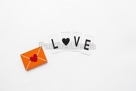 love letter small wooden orange envelope