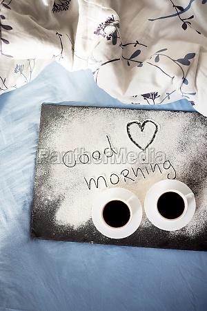 good morning inscription flour on a