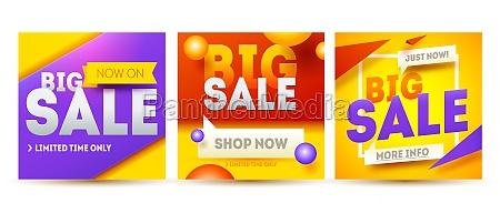 big sale banner set sale and