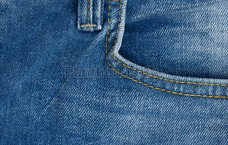 front pocket of blue classic jeans