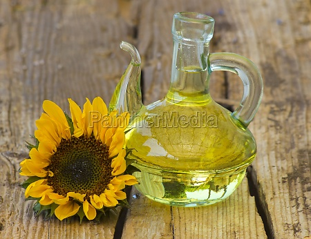 glass bottle with sunflower oil and