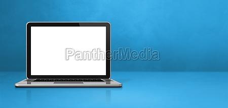 laptop computer on blue office scene