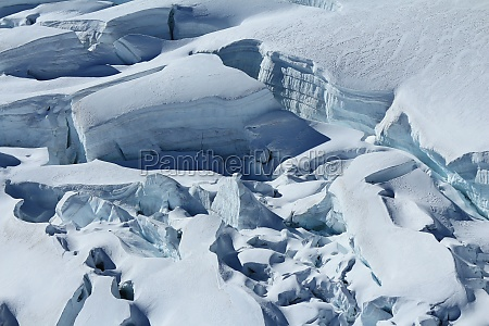 large crevasses and seracs on the