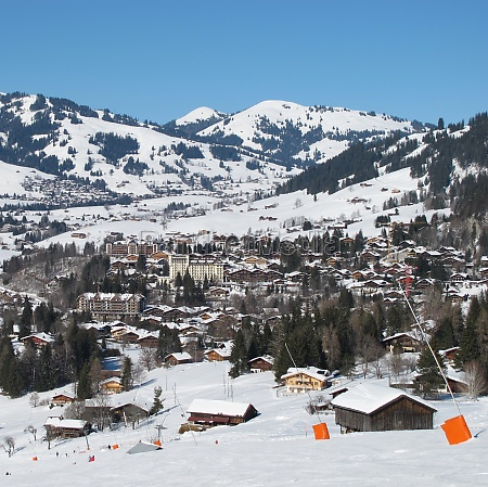 ski slope and view of gstaad