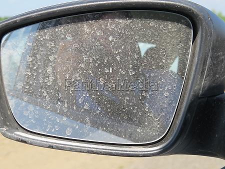 dirty automobile mirror