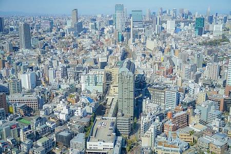 tokyo skyline seen from the ebisu