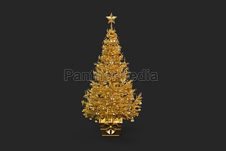 golden decorated christmas tree 3d rendering