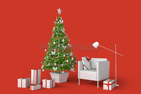 room interior with decorated christmas tree