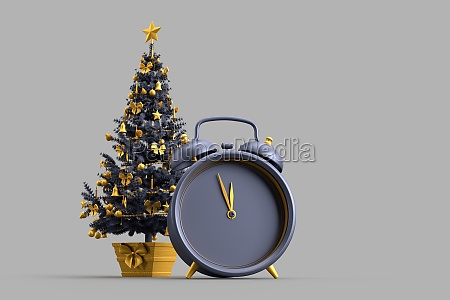 decorated christmas tree and alarm clock