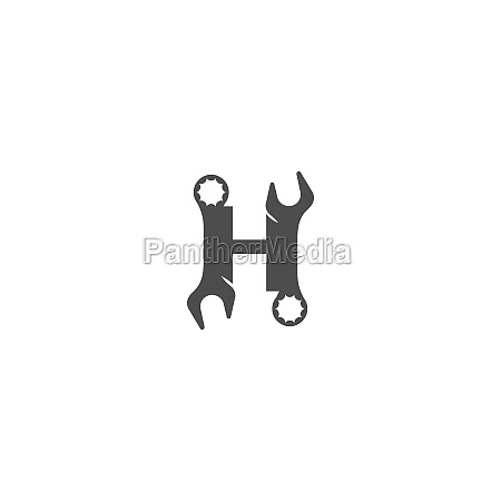 letter h logo icon with wrench