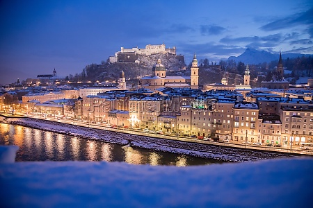 salzburg old city at christmas time
