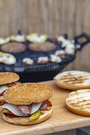 homemade burger and garden grill