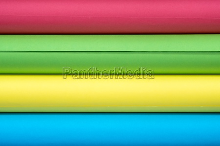 bright rolls of colored paper