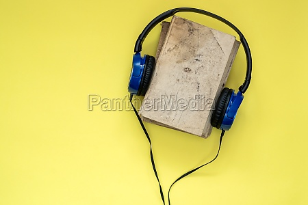 top view of audio book concept