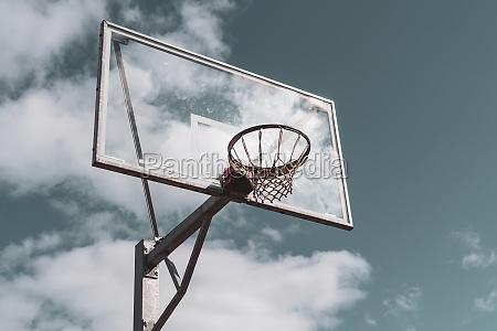 basketball hoop against cloudy sky