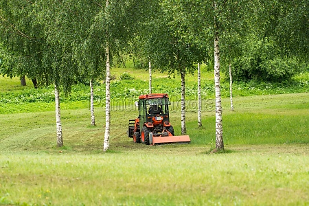 tractor mowing lawn