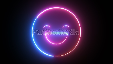 neon happy emoji icon computer generated