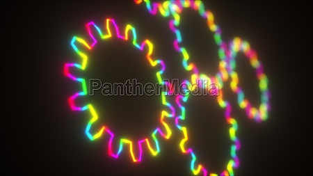 computer generated neon gears are turning