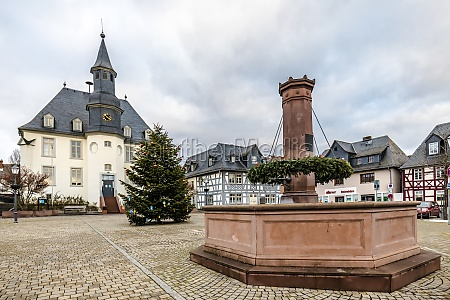 city hall with fountain from usingen