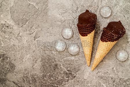 chocolate ice cream in wafer cone