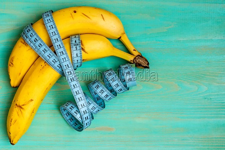 bananas and blue measuring tape