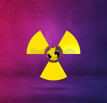 world map on radioactive symbol purple