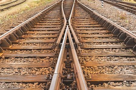 two railway tracks merge together