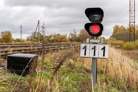 red signal on railway