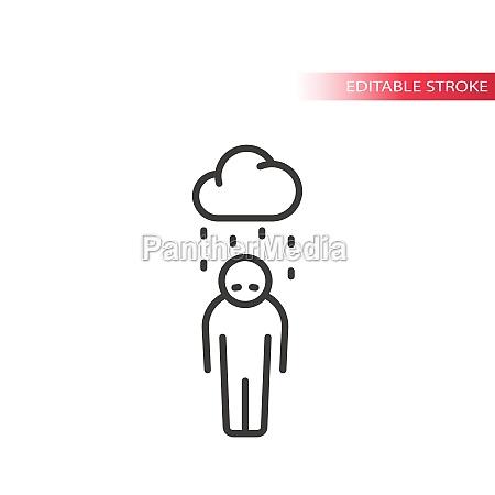 depression thin line vector icon