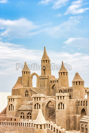 sandcastle during a sunny day with