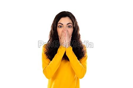 adorable teenage girl with yellow sweater