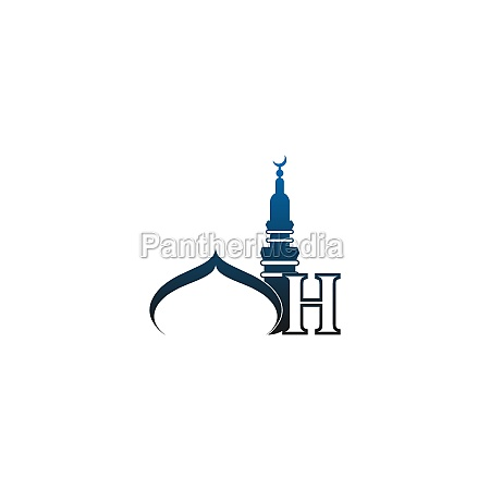 letter h logo icon with mosque