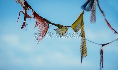 tibetan prayer flag blue sky