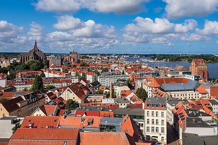 view over the hanseatic town rostock