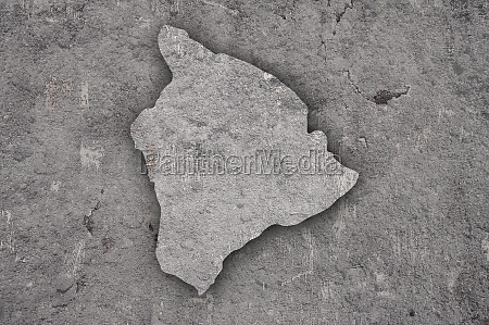 map of hawaii on weathered concrete