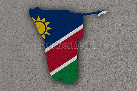 map and flag of namibia on