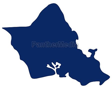 karte von oahu in blauer farbe