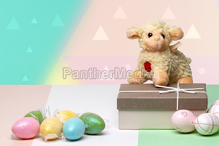 happy easter greeting card decorative composition